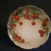 Jaeger & Co. Hand-Painted Cabinet Plate w/Cherries Motif