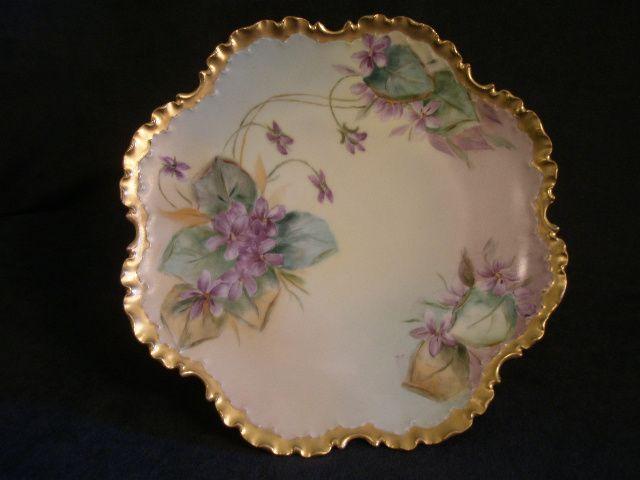 Rosenthal Porcelain Hand-Painted Cabinet Plate w/Violet Blossom Motif
