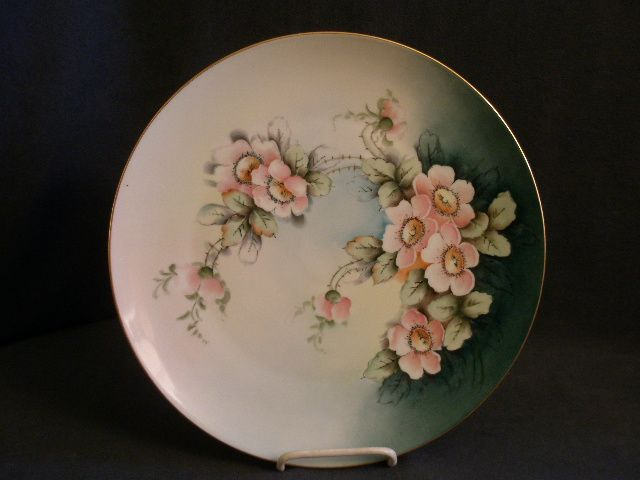 Bavaria Porcelain Hand Painted Charger w/Wild Roses Motif