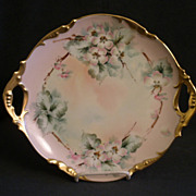 Jean Pouyat (JPL) Limoges Hand-Painted Serving Plate w/Apple Blossom Motif