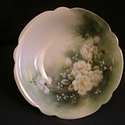 Hand Painted Porcelain Bowl w/White Tea Roses Motif