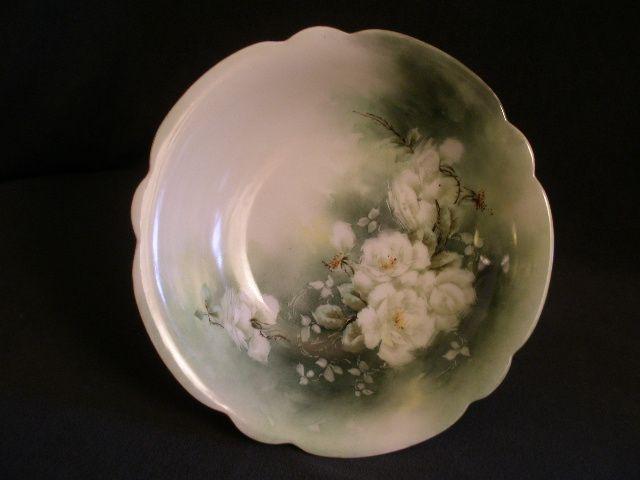 Hand Painted Porcelain Bowl w/White Tea Roses Motif