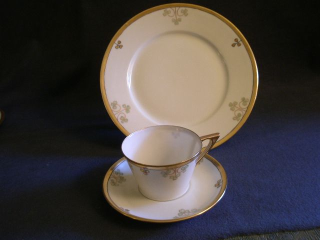 """Set of 6 - (18 Pcs.) -  """"Shamrock Pattern""""  Hand Painted Porcelain Luncheon Plates, Cups & Saucers"""