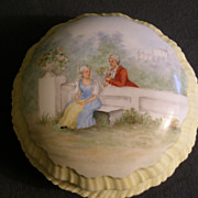 Austria Porcelain Hand Painted Covered Dressed Box w/Victorian Couple in a Garden Scene