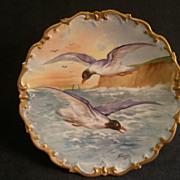 Lazeyras, Rosenfeld & Lehman (L R L) Limoges Hand Painted Game Plate w/Sea Gulls in Flight
