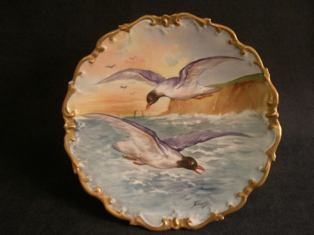 Lazeyras, Rosenfeld & Lehman (L R L) Limoges Hand Painted Game Plate w/Sea Gulls in Flight