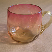 Amberina Glass Punch Cup in Inverted Baby Thumbprint Pattern w/Reeded Handle