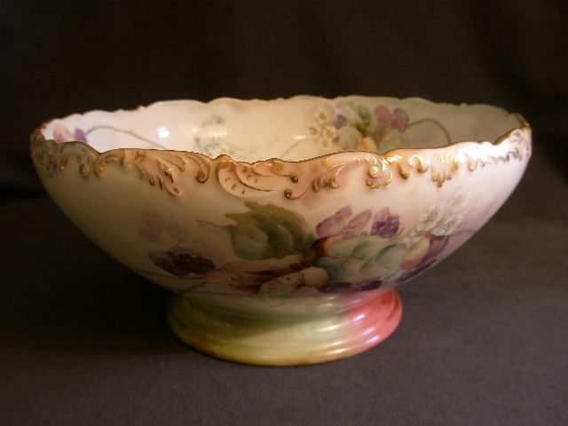 Tressemanes & Vogt  Limoges Hand Painted Punch Bowl w/Blackberry & Art Nouveau Motif
