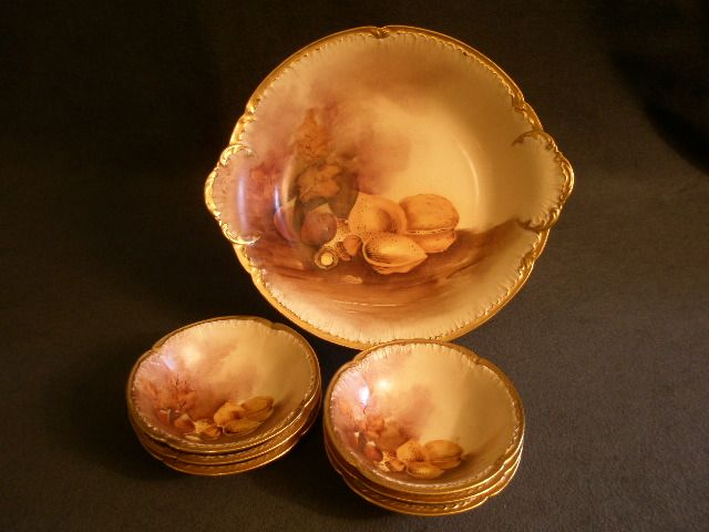 GDA Limoges Hand Painted 7-Piece Nut Serving Set w/Mixed Nut Motif