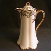 "Charles Haviland & Co. Limoges ""Green & Gold Floral"" Chocolate Pot - Schleiger H1102 Variant , Blank 1 Ranson"