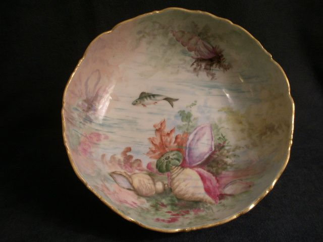 Hand Painted Footed Porcelain Bowl w/Ocean Seascape Motif