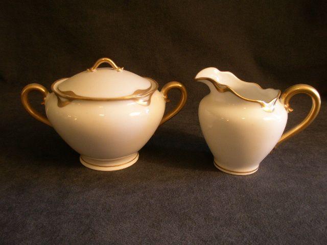 "Charles Haviland & Co. Limoges ""Silver Anniversary"" Sugar Bowl & Cream Pitcher Set - Schleiger #19"