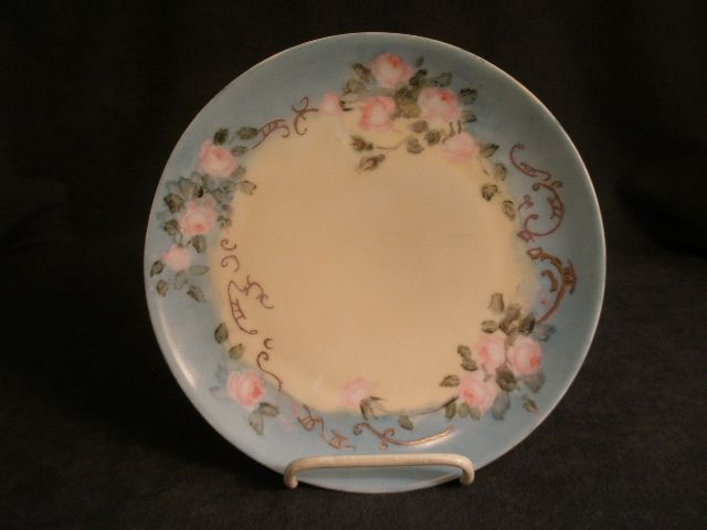 P.T. Bavaria Porcelain Hand Painted Cabinet Plate w/Pastel Pink Rose Motif