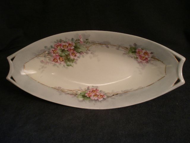JHR Hutschenreuther Hand Painted Celery Tray w/Apple Blossoms motif
