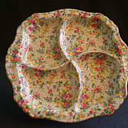 "Royal Winton Chintz ""Fireglow"" Pattern 4-Part Relish Dish - Ascot Shape"