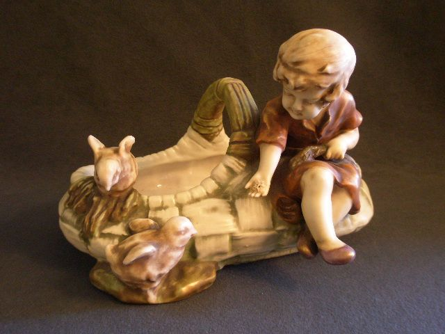 Turn-Teplitz Imperial Amphora Figural Basket w/Young Girl Feeding Baby Chicks