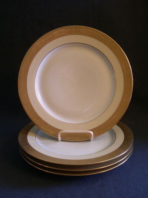Set of 4 - T & V Limoges Gold Encrusted Dinner Plates