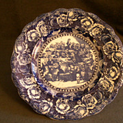 "Ridgway Flow Blue Plate ""Bardell V Pickwick"""
