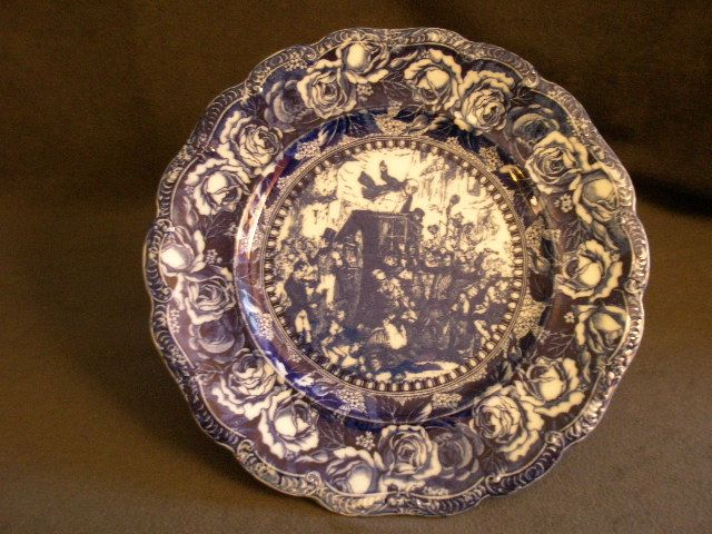 "Ridgway Flow Blue Plate ""Mr Pickwick Under Arrest"""