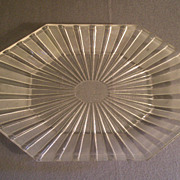 "EAPG - ""Frosted Ribbon"" Pattern Oblong Platter w/Cut Corners"