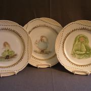 Set of 3 - Haviland & Co, Limoges Hand Painted Cabinet Plates w/Vegetable Ladies Motifs