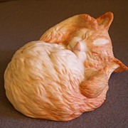 "Cybis Porcelain ""Topaz"" - Sleeping Kitten Figurine"