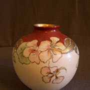 Hand Painted Porcelain Vase w/Multi-Colored Nasturtium Blossoms Motif