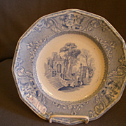 "Wood & Challinor Blue Transfer-ware ""Patras"" Pattern Ironstone Plate"