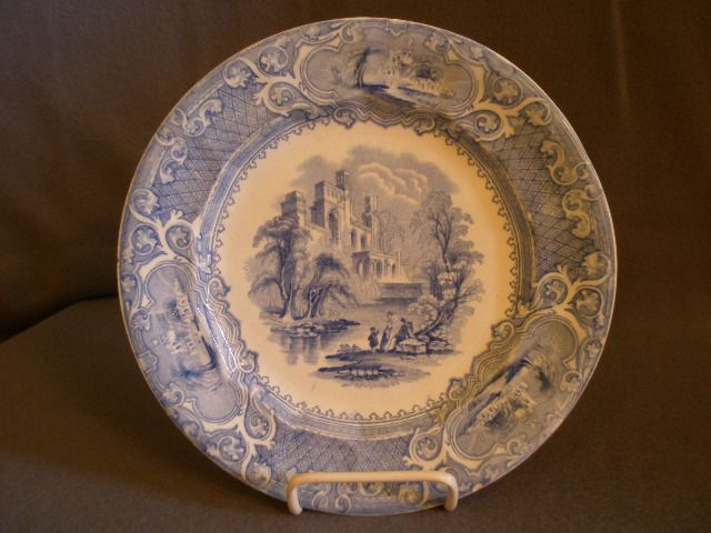 "E Challinor & Co. Blue Transfer-ware ""Priory"" Pattern Ironstone Plate"