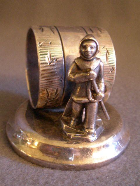 Victorian Silver-Plated Figural Napkin Ring w/Eskimo Figure