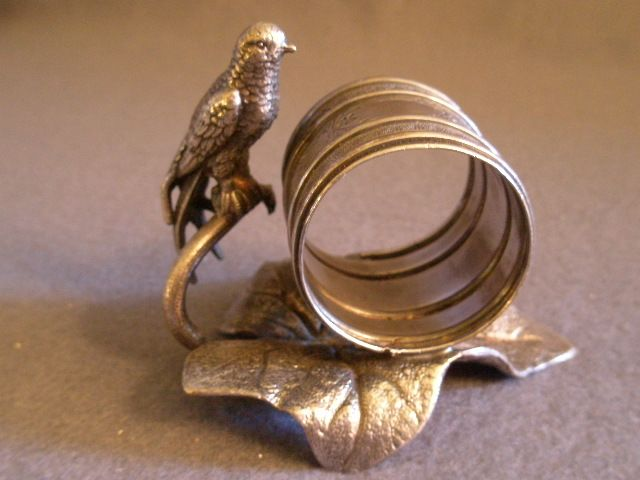 Victorian Silver-Plated Figural Napkin Ring w/Long-Tailed Bird Perched on a Branch