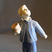 "Bing & Grondahl Porcelain of Young Boy  ""Who Is Calling"" Figurine #2251"