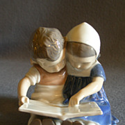 "Bing & Grondahl Porcelain of Boy & Girl ""Children Reading"" Figurine #1567"