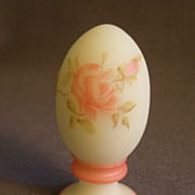 "Fenton ""Roses on Custard"" Egg on Pedestal Paperweight -  Signed C. Weihl"