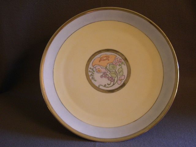 Bavaria Porcelain Hand Painted Charger w/Art Deco Floral Motif