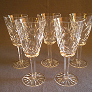 "Set of 5 Waterford Crystal ""Ashling"" Pattern Sherry Stems"