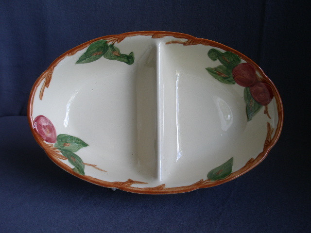 "Vintage Franciscan China ""Apple"" Pattern Oval Divided Vegetable Bowl"