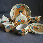 Set of Japan Hand Painted Children's Dishes w/Art Deco Floral Motif