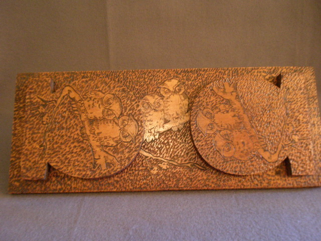 Arts & Crafts Era Pyrographic Folding Book Rack  w/Owls Motif