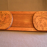 Arts & Crafts Era Pyrographic Folding/Expandable Book Rack  w/Native American Image & Motto Motif