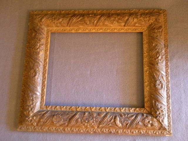 Antique Victorian Gesso Picture Frame w/Overall Floral Motif