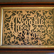 "Antique Scrollwork Motto ""God Bless  Our Home"" in Walnut Eastlake Frame"
