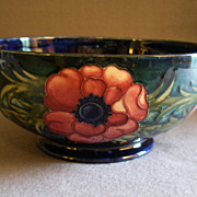 "Moorcroft Pottery Footed ""Anemone"" Pattern Bowl - Cobalt Blue"