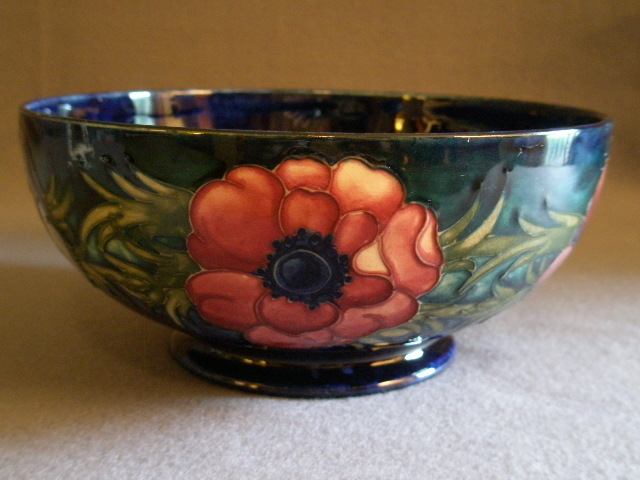 Moorcroft Pottery Footed Quot Anemone Quot Pattern Bowl Cobalt Blue From Brysantiques On Ruby Lane
