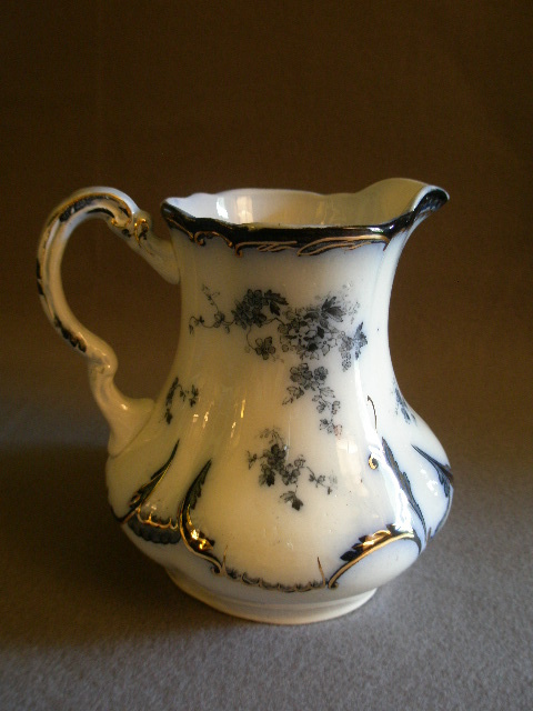 "Ridgways Flow Blue Pitcher ""Chiswick"" Pattern - 6"" Tall"