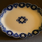 "Johnson Bros Flow Blue ""Savoy"" Oval Serving Platter"