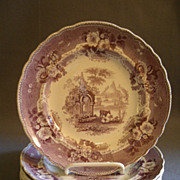 "Set of 6 T & J Mayer Mulberry Transfer-ware Salad/Dessert  Plates ""Abbey Ruins"" Pattern"