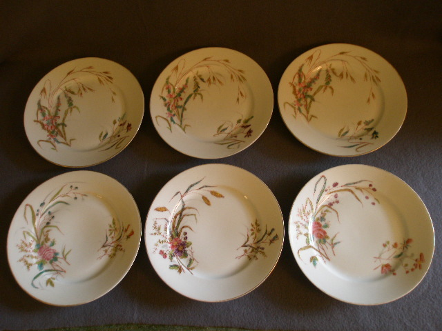 Set of 6 Porcelain Salad/Dessert Plates w/Variety of Wildflower Transfers