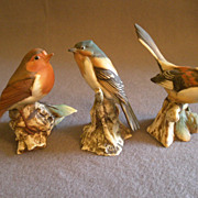 Three Hand Painted Capodimonte-Style Italy Bird Figurines