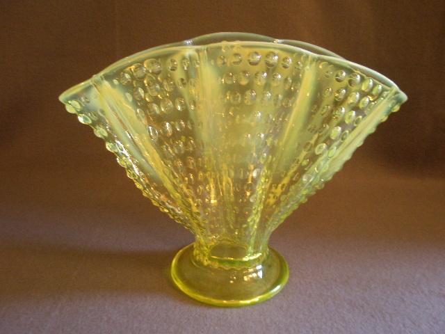 """Fenton """"Topaz Opalescent"""" Hobnail 8"""" Fan Vase - Vaseline Color"""